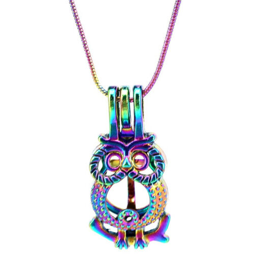 """S-PC-722 22/"""" Rainbow Color Snake Chain Pick a Pearl owl Cage Locket"""