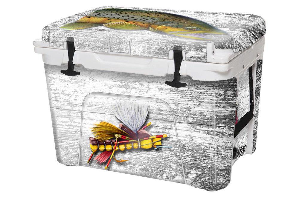 USATuff Custom Cooler Decal Wrap fits YETI Tundra 65qt FULL Ty Braun Trout