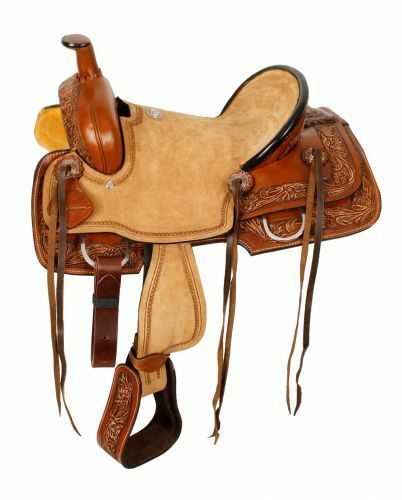 12 , 13  Double T Youth hard seat roper style saddle with smooth leather skirts