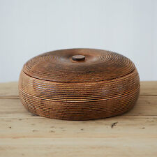 Comercio Justo Hecho a Mano Natural Mango Madera Tallada Makula grande recipiente con tapa