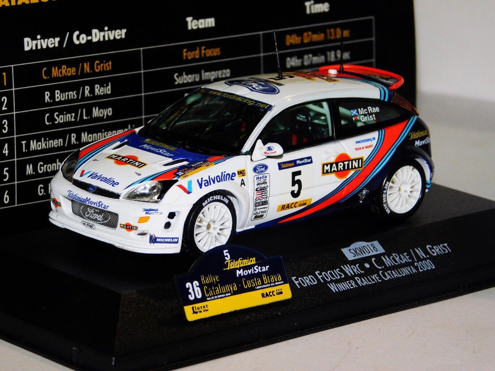 Ford FOCUS WRC WRC WRC MARTINI  5 C. McRae Ganador Rally Catalunya 2000 Skid SKW018 1 43 8f2c45