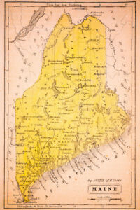 image relating to Printable Map of Maine named Information above Map of Maine 1852 Typical Artwork Print Poster 12x18 inch