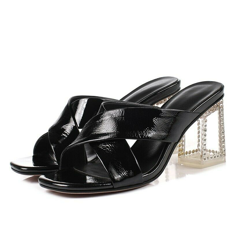 mujer Patent Leather Slip On zapatos 2019 Street Block Heel Clear Fashion Sandals