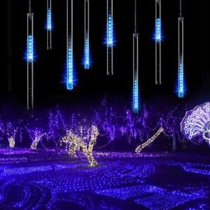 LED-Meteor-Shower-Lights-Outdoor-Falling-Rain-Drop-Icicle-String-Waterproof-Blue