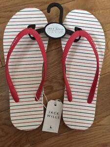 BNWT-Womens-Jack-Wills-039-Tidbury-039-Multi-Stripe-Flip-Flops-Size-5-Or-6
