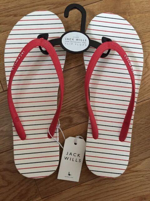 BNWT Womens Jack Wills 'Tidbury' Multi Stripe Flip Flops - Size 5 Or 6