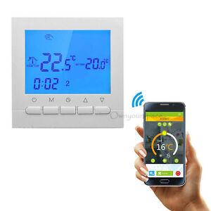 wifi lcd wireless smart programmierbare thermostat unterflur heizung app steuern ebay. Black Bedroom Furniture Sets. Home Design Ideas