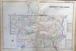 ORIGINAL 1913 EDGMONT, PENNSYLVANIA, GLEN MILLS GIRLS' SCHOOL, PLAT ATLAS MAP