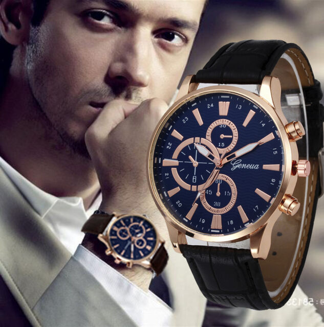 Geneva Fashion Watch Mens Analog Leather Band Quartz Sport Casual Wrist Watches