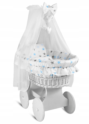 Hooded Wicker Wheel Grey Moses Basket Baby Full Bedding Set Canopy Dimple Grey Stars with White