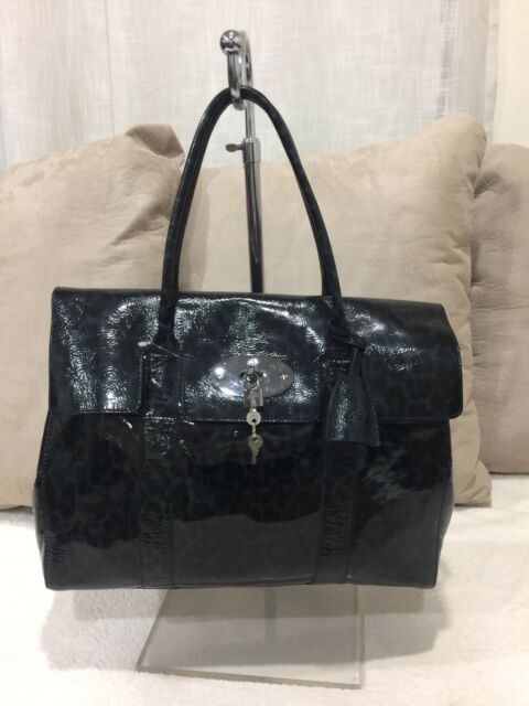 bf387564d4 where to buy 1350 mulberry bayswater patent leather leopard print blue black  authentic cee64 2eaee