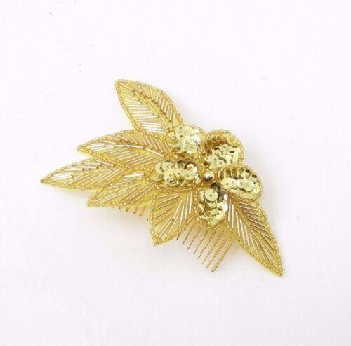 Gold Sequin Hair Comb Bridesmaid Art Deco Seed Bead Flower Vintage Bridal 3055