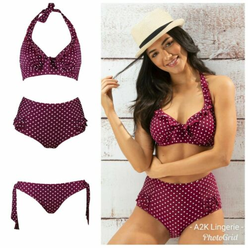 Pour Moi Les points chauds Sangria Armature Haut Bikini Cravate ou contrôle Bikini Brief