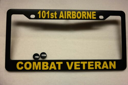 ABS-#841409Y Military License Plate FRAME 101st AIRBORNE//COMBAT VETERAN-