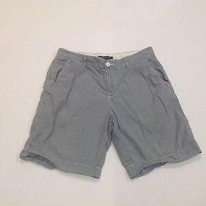Tommy-Hilfiger-Men-Shorts-Sz-34-35-Blue-White-Mini-Check-Flat-Front-100-Cotton