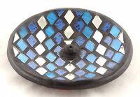 Mosaic Glass Blue Silver Round Ceramic Incense Burner Handmade Black Stick