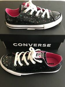 Details about Junior Size 3 Converse Chuck Taylor All Star Galaxy Glimmer Shoes Black Glitter