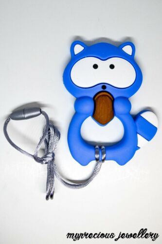 Silicone Teething Pendant Necklace Baby Sensory Jewellery Teether Raccoon UK