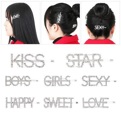 Women Girls Crystal Rhinestone Words Hairpin Hair Barrette Hair Clips Fast