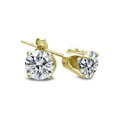 1/5 Ct Round Diamond 14K Yellow Gold Stud Earrings