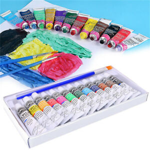 12-Color-Acrylic-Paint-Set-6-ml-Tubes-Artist-Draw-Painting-Pigment-With-Brush