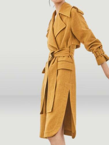 Womens Lapel Knee Lengh Belt Trench Outwear Slim Fit Overcoat Spring Jacket H872