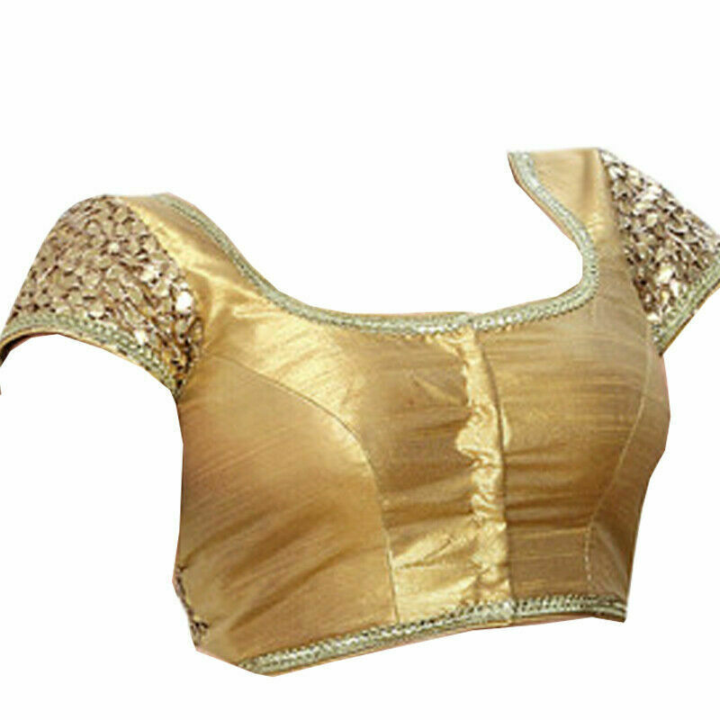 Indian Designer Dupin Saree Choli Eid Golden Ethnic Ready Made Sari Top Blouse