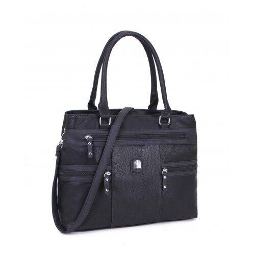 Ladies Two Tone Panel Shoulder Bag Multi Pocket Handbag Zip Shopper Bag M18203