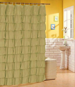 Image Is Loading French Country CITRUS GREEN TIERED RUFFLE SHOWER