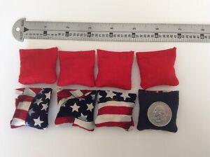 "1 1//2 X 1 1//2/"" /& 4 Red Stripes mini cornhole bean bags 4 Stars navy Back"
