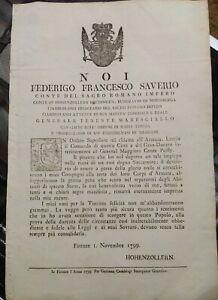 1799-59-FIRENZE-BANDO-CONTE-HOHENZOLLERN-LASCIA-A-PALFFY-IL-GOVERNO-DI-TOSCANA