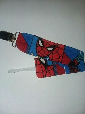 Soother Pacifier Clip ~ Super Hero ~ NEW ~ PERSONALISED SPIDERMAN Dummy