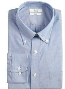 New Croft /& Barrow Men's Classic-Fit Button-Down Collar Blue Striped Dress Shirt
