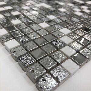 Arctic Vintage Silver Mosaic Tiles Walls Floors Bathrooms Kitchens Splashback