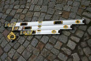 3er-SET-Stanley-Magnetwasserwaage-Wasserwaage-120-90-amp-60-cm-10-m-Bandmass