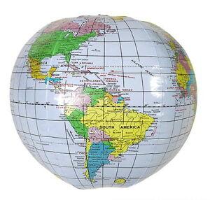 "6 INFLATABLE GLOBES 16"" BEACH BALL INFLATE MAP TEACH WORLD GEOGRAPHY GLOBE"