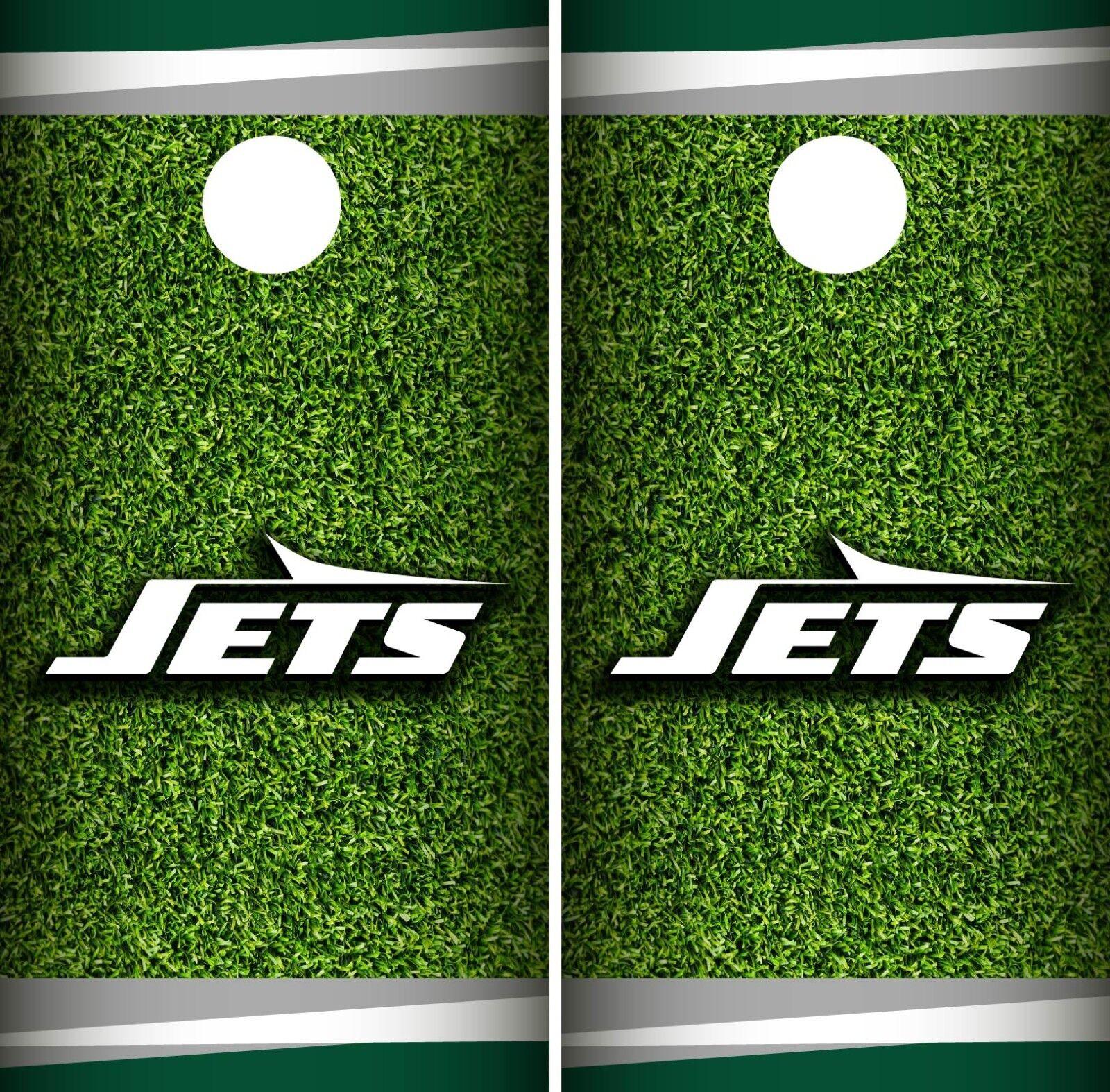 New York Jets Field Cornhole Wrap NFL Game Board Skin Set Vinyl Decal CO97