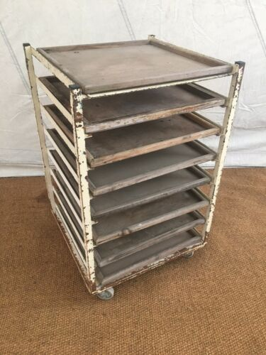 Pottery Potters Ware Board Vintage Shop Display Shelving Production Trolley