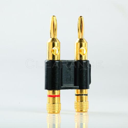 Black premium gold dual 2 banana plug post jack speaker audio connector
