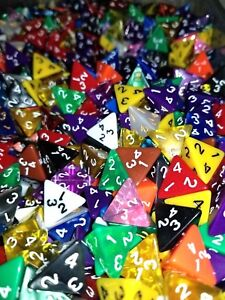 50-HDDice-D4-Random-Color-Pearl-Solid-Translucent-Polyhedral-Dice-Lot-4-Sided