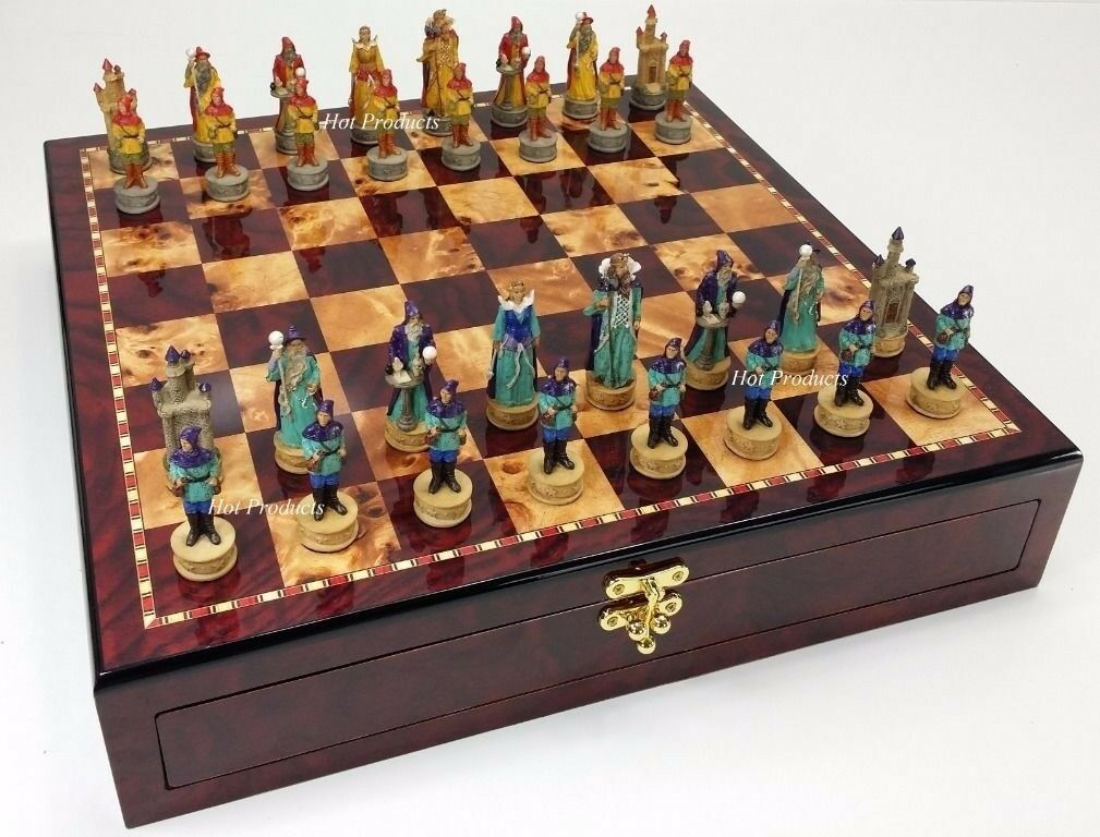 Medieval fantasyc WIZARDS & SORCERERS Chess  Set Cherry Coloree Storage tavola  prezzi bassissimi