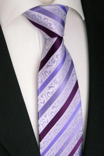 en mauve rayé K 177.6 La Main Hommes Luxe En Soie Cravate