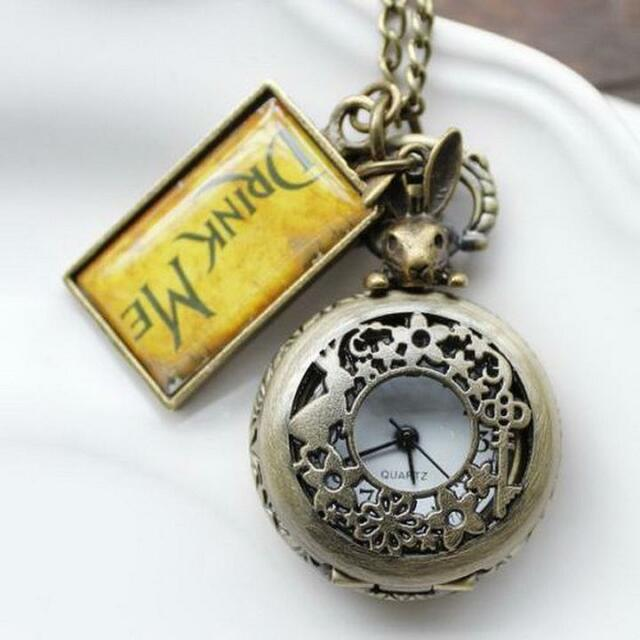 Vintage Drink Me Alice In Wonderland Pocket Watch Necklace Watch With Rabbit