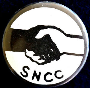 SNCC PINBACK BUTTON - 1960s CIVIL RIGHTS MOVEMENT - RARE ORIGINAL SCARCE