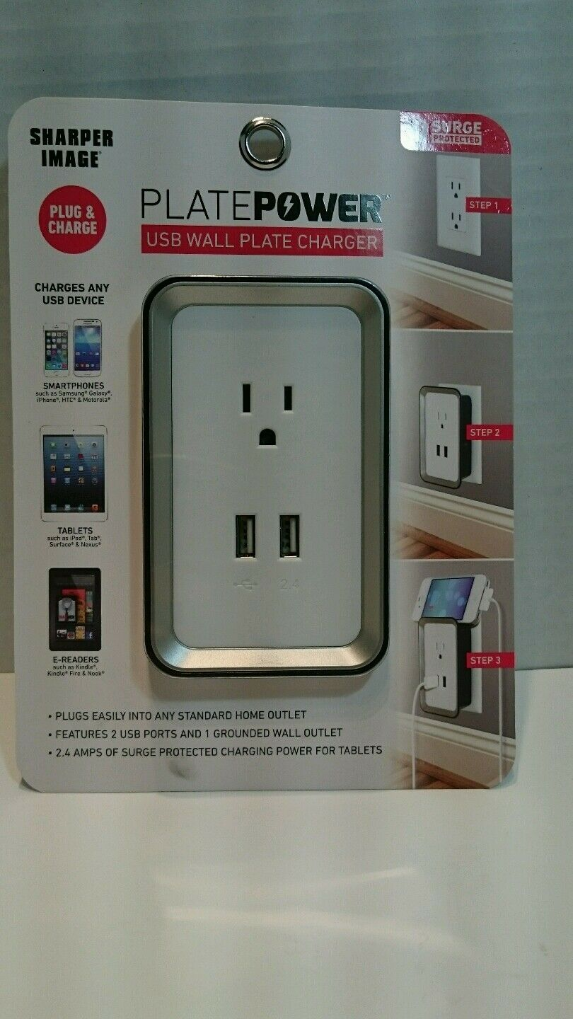 Sharper Image Usb Wall Plate Charger White 8d Very Good Ebay
