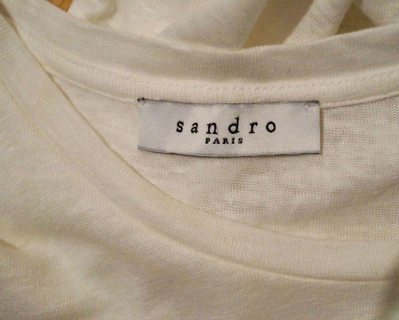 Sandro INVERNO BIANCO BIANCO BIANCO 100% lino Manica Corta a Pieghe Orlo Estate Top SZ  2 m f50097