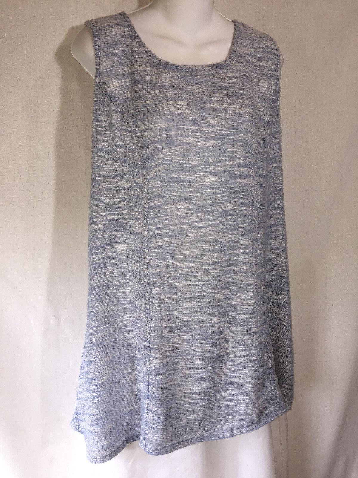FLAX Engelhart Long Shapely Blau Gauze Linen Lagenlook Tunic Tank Top Shirt L