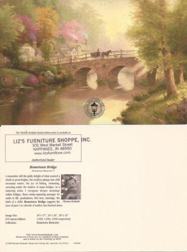 """Postcards NEW Thomas Kinkade,/""""HOMETOWN BRIDGE/"""" Two 2"""