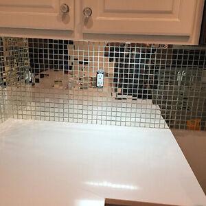 1M Selbstklebend Glas Mini Quadrat Spiegel Mosaik Fliesen DIY Badezimmer Dekor