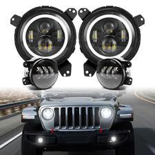 Halo Led Headlights Fog Lights Kit For Jeep Jl Rubicon Sahara Gladiator Jt 18 21